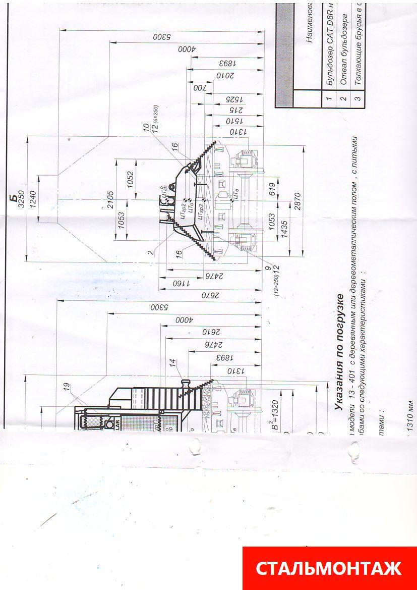 Схема размещения  бульдозера на железнодорожной платформе